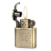 Bronzy-Carved-Constantine-Antique-Style-Lift-Arm-Oil-Petrol-Lighter-0