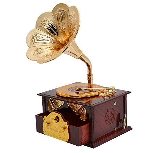 Fding-Classical-Trumpet-Horn-Turntable-Gramophone-Art-Disc-Music-Box-Make-up-Case-Jewelry-Box-Home-Decor-Brown-0