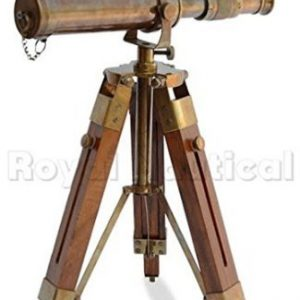 Nautical-Brass-Antique-Telescope-Spyglass-With-Wooden-Stand-Home-Decor-Gift-0