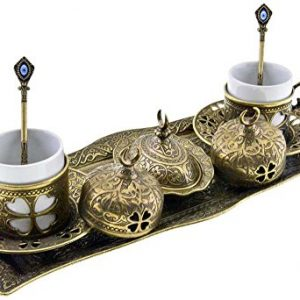 Premium-Turkish-Greek-Arabic-Coffee-Espresso-Serving-Set-for-2Cups-Saucers-Lids-Tray-Delight-Sugar-Dish-11pc-Antique-Brass-0
