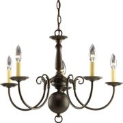 Progress-Lighting-P4346-20-5-Light-Americana-Chandelier-with-Delicate-Arms-and-Decorative-Center-Column-Antique-Bronze-0