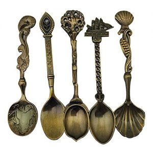 Retro-Creative-Coffee-Scoops-Stirring-Spoon-Sugar-Spoon-Tea-Spoon-Set-of-5-Antique-Brass-0