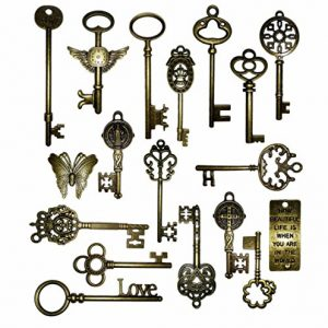 Vintage-Skeleton-Keys-Charm-Set-in-Antique-Bronze-Pack-of-18-Keys-18-Different-Style-No-Repeat-0