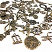 Yueton-100-Gram-Approx-70pcs-Assorted-Antique-Charms-Pendant-for-Crafting-Jewelry-Making-Accessory-Bronze-0-2
