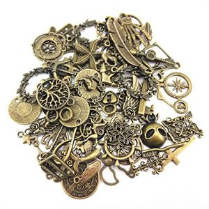 Yueton-100-Gram-Approx-70pcs-Assorted-Antique-Charms-Pendant-for-Crafting-Jewelry-Making-Accessory-Bronze-0